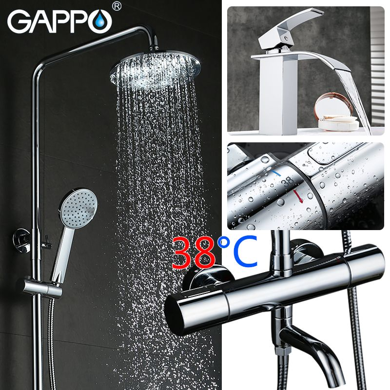 GAPPO Bathtub faucet bathroom mixer shower tap bath shower head taps rainfall shower set waterfall thermostatic shower faucets