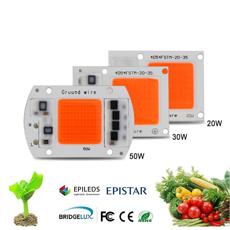 1pcs Hydroponice AC 220V 20w 30w 50w led grow chip full spectrum 380nm-840nm for indoor grow lighting