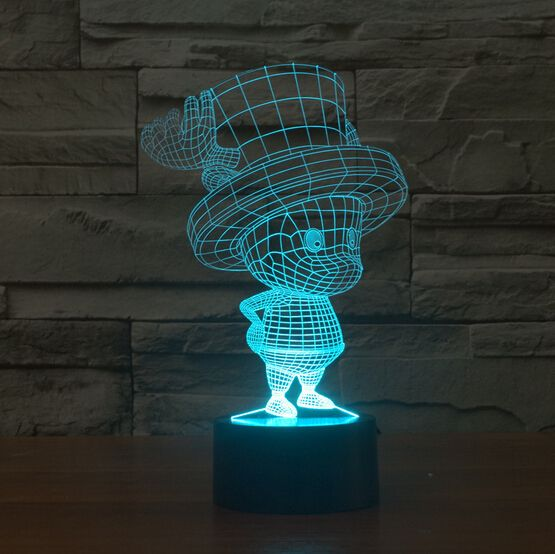 Hot NEW 7color changing 3D Bulbing Light One piece Tony Chopper visual illusion LED lamp creative action figure toy Christmas