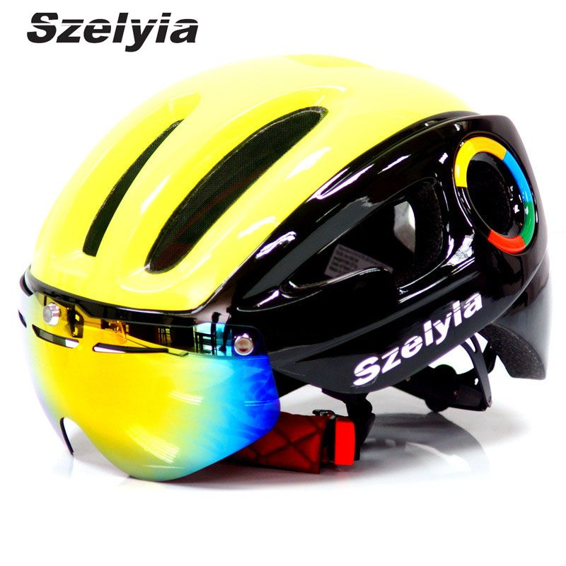 2017 Szelyia Cycling Helmet glasses M Mtb Mountain Road Bike Bicycle Helmet 3 lens visor Cascos mtb bicicleta Ciclismo bike