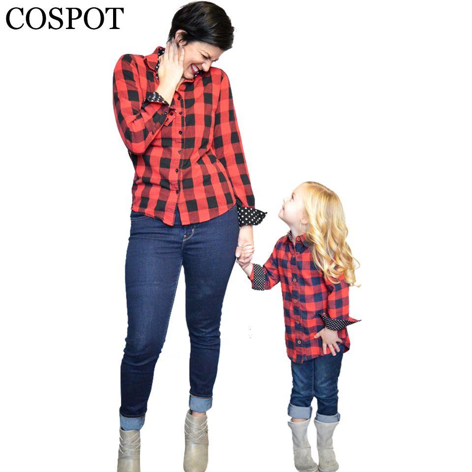 COSPOT Maman et Filles Plaid Rouge De Noël Chemise Mère et fille Coton Assorti Blouse Famille Mode Printemps Haut T 2018 28F