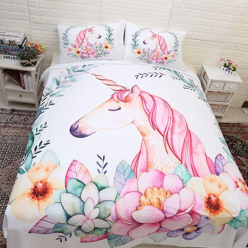 Cute Unicorn Bedding Set Cartoon Duvet Cover Twin Full Queen King Size 3PCS Bedclothes