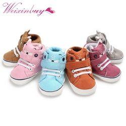 1 par otoño Zapatos de bebé Kid Boy Girl Fox Head Encaje paño de algodón primer caminante suaves antideslizantes Niño zapatilla y13