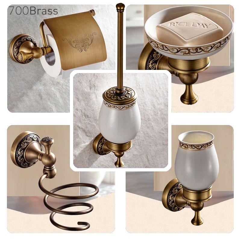 Accessoires de salle de bain Collection laiton Antique, anneau de serviette, porte-papier, brosse de toilette, patère, support de bain, porte-savon, robinet