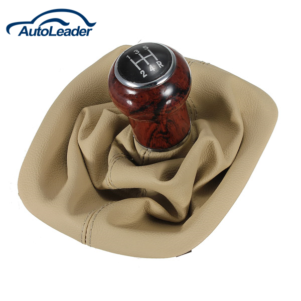 Beige 5 Speed Gear Wooden Shift Knob Gaitor Boot For VW Passat B5 B5.5 1998-2004
