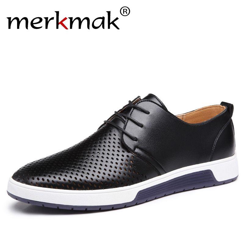Merkmak/Новый 2018 Для мужчин повседневная обувь кожаные летние дышащие отверстия Элитный бренд без каблука Обувь для Для мужчин Прямая доставка