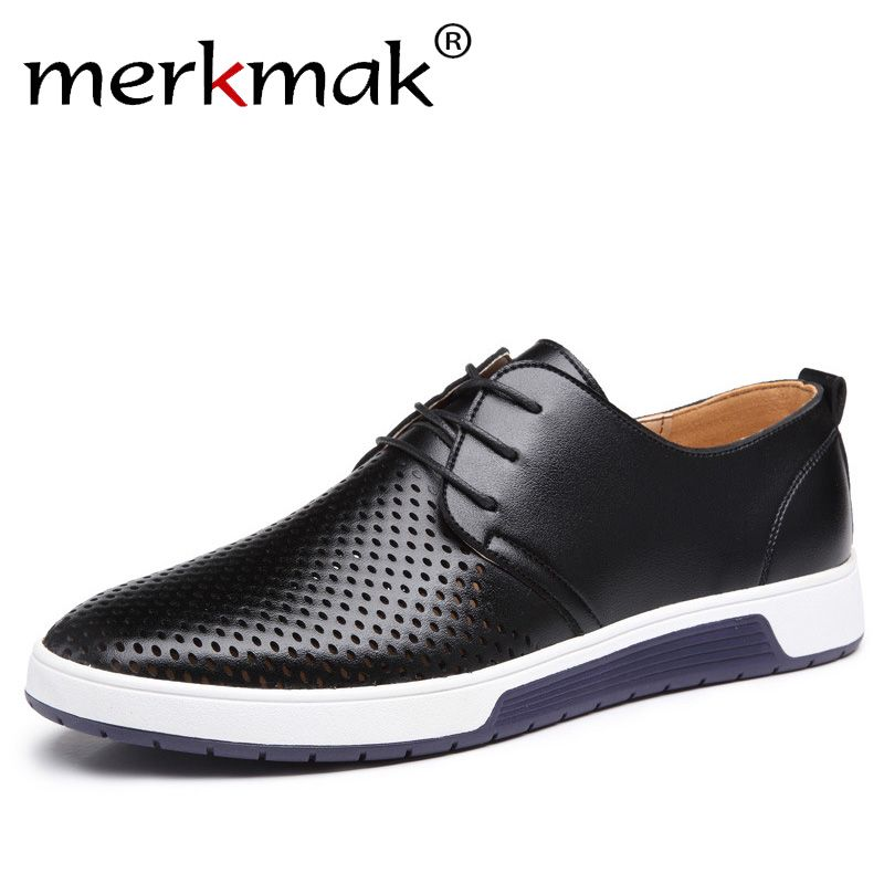 Merkmak New 2018 Men Casual <font><b>Shoes</b></font> Leather Summer Breathable Holes Luxury Brand Flat <font><b>Shoes</b></font> for Men Drop Shipping