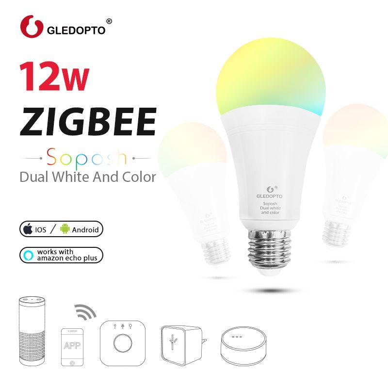 GLEDOPTO LED ZIGBEE 12W RGB+CCT bulb AC100-240V RGB and dual white e27 e26 dimmer LED bulb dimmable lamp RGBW/RGBWW work alexa