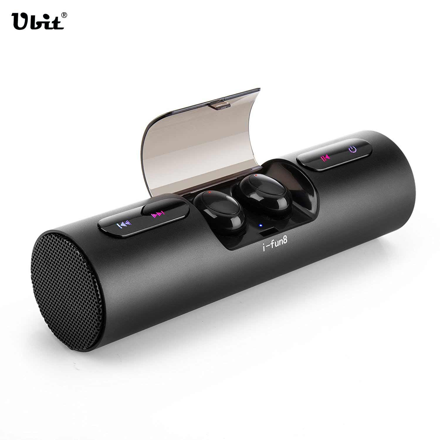 Ubit Bluetooth Speaker Built-in Mic Hands-free Call Portable Sound Perfect Speakers with TWS Wireless Earbuds For SmartPhone