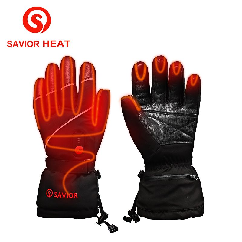 Savior S-15 Electric Heat Leather Gloves,Outdoor Ski Sport Lithium Battery Self Heating,Smart touch Heated Gloves