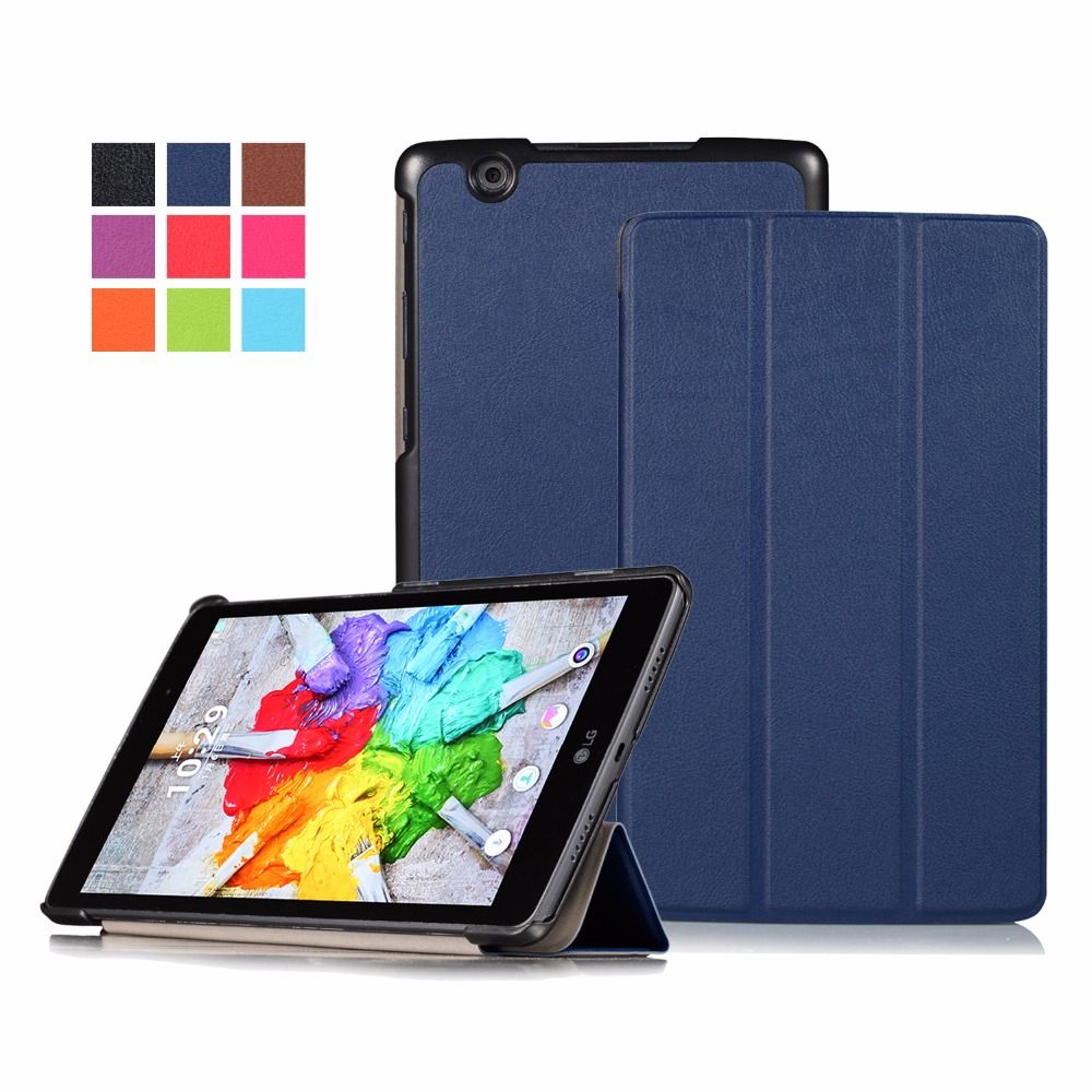 GOOYIYO - Case For LG PAD 3 8.0 V525 V521 Cover Tablet Flip PU Leather Cases Trifold Stand Protective Shell