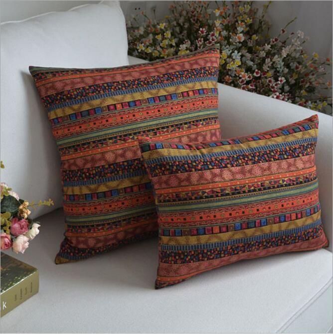 Offre spéciale carré rayé décoratif coussin couvre canapé voiture jeter oreiller linge 30x45 45x45 60x60