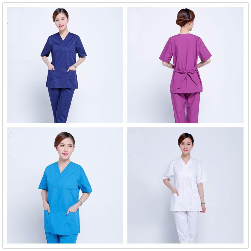 Mujeres Slim Fit Uniformes de Hospital Médico Matorrales Conjuntos Vestidos de Médicos Enfermeras Bata de laboratorio Médico Ropa Ropa de Trabajo Uniforme Salón Clínica
