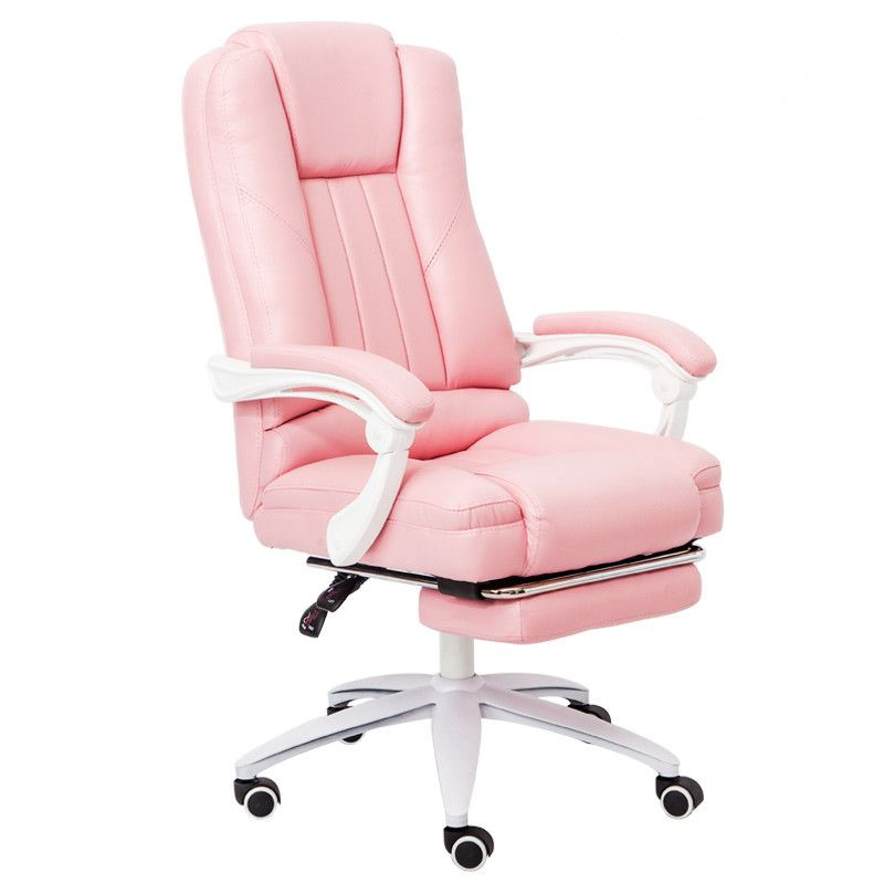 Executive PU Leather Computer Chair with Pull-Out Footrest Adjustable Lumbar and Padded Armrest Home Office Chair Furniture