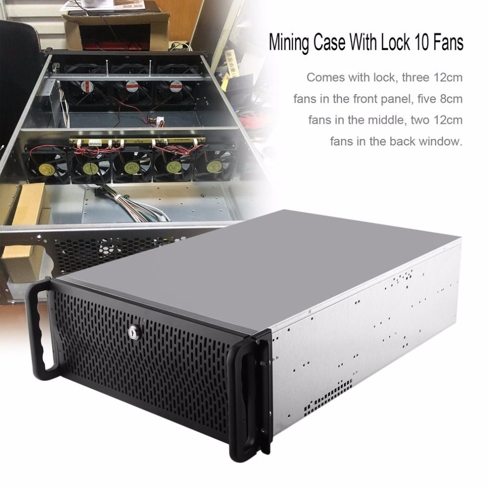 Open Air Mining Frame Rig Graphics Case GPU ATX Fit 6/8 Graphics Card Ethereum ETH ETC ZEC XMR 10 Fans With Lock For 6-8 GPU