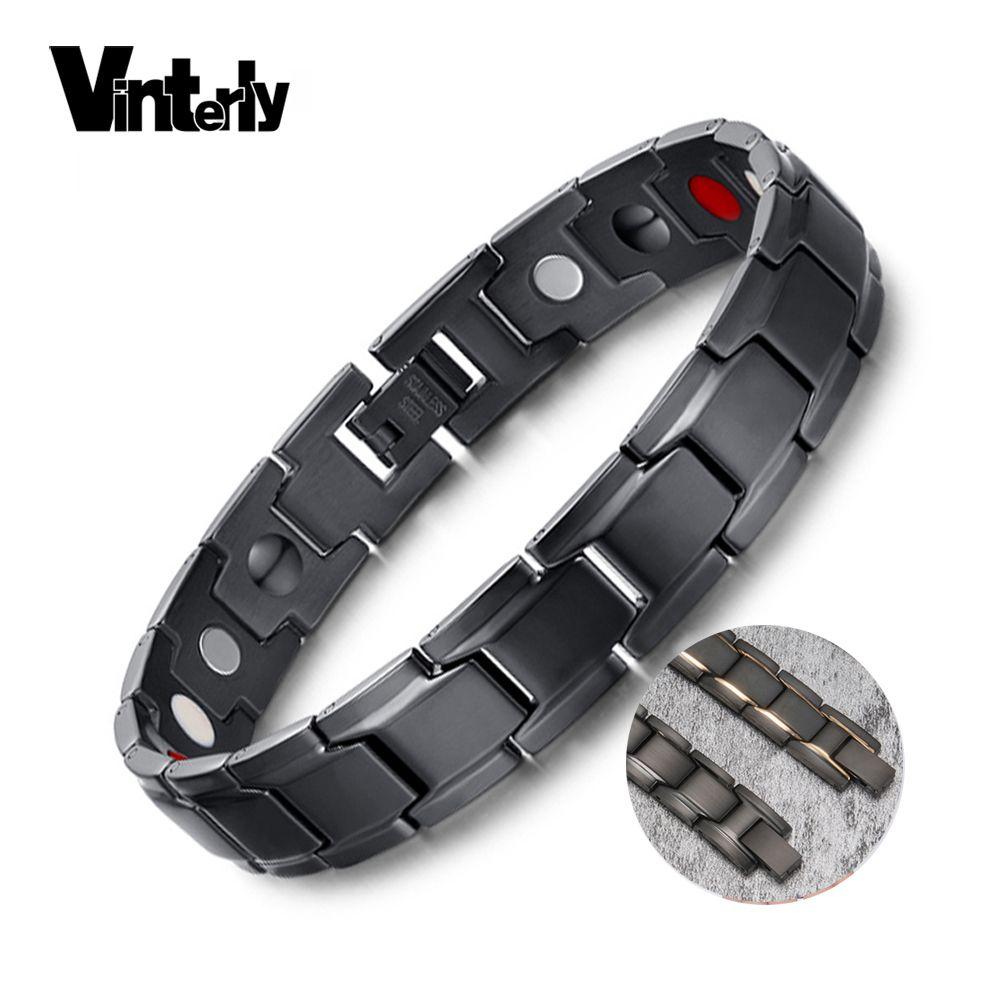 Vinterly Bracelet Magnétique Bracelet Hommes En Acier Inoxydable Germanium D'énergie Bracelet Mâle Noir Magnétique Bracelet pour Hommes 2018