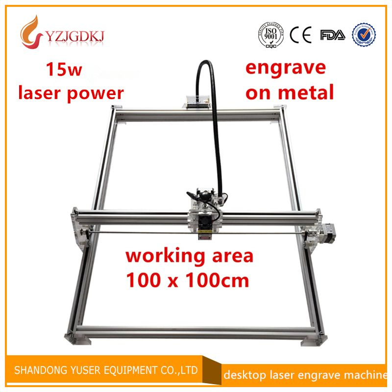 15w laser cutter metal marking machine support english software work size 1*1m laser engraver mark on metal big work size power