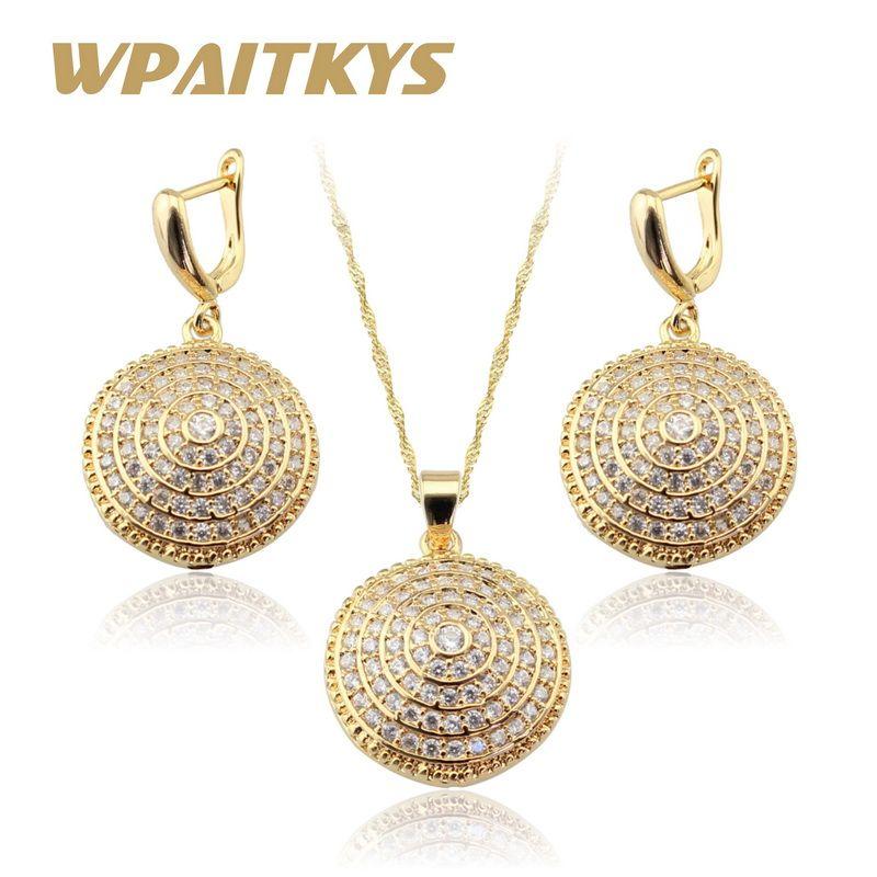 Rond blanc créé AAA Zircon couleur or collier/pendentif/boucles d'oreilles ensembles de bijoux pour les femmes boîte-cadeau gratuite