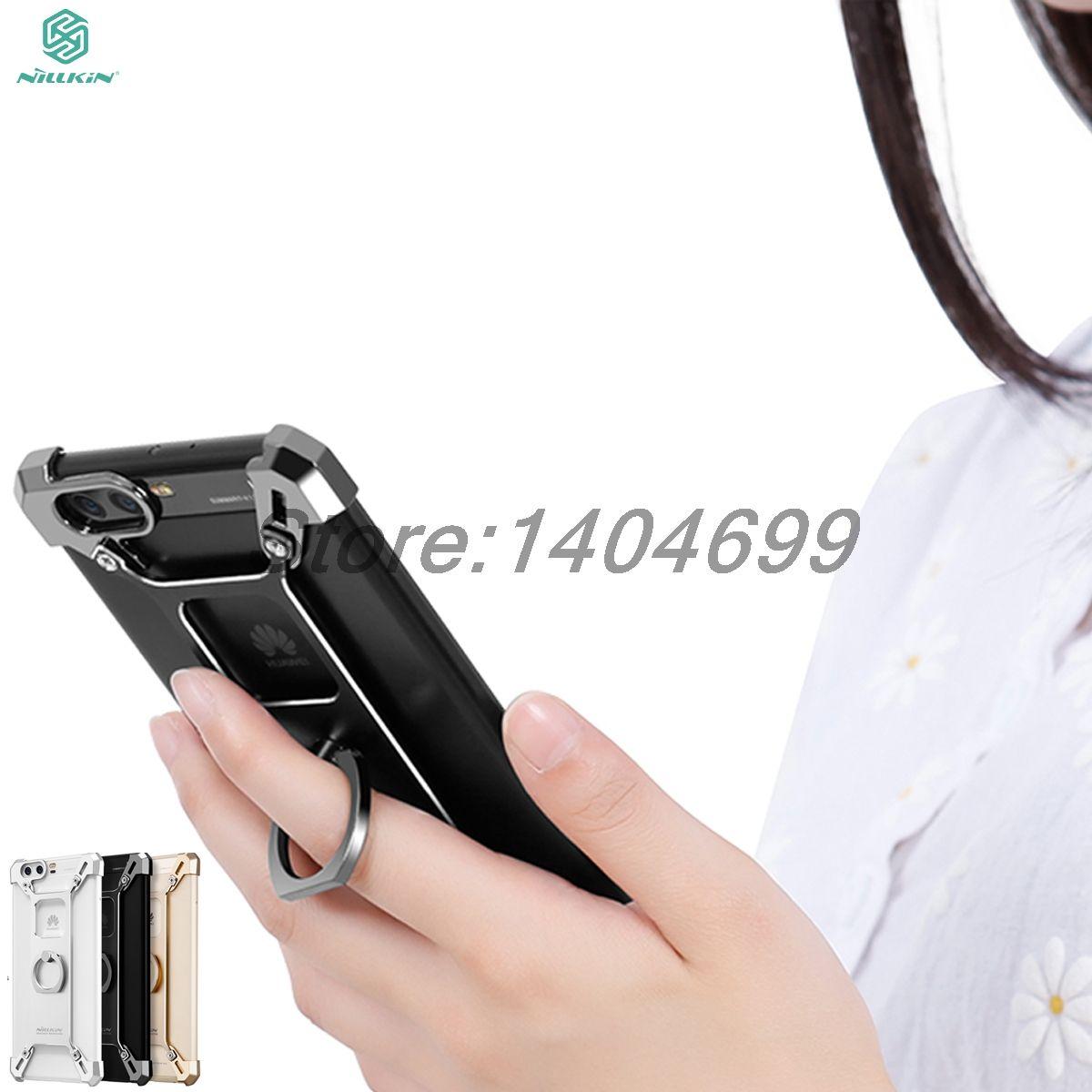 Nillkin Huawei P10 Plus Cas Stand Pare-chocs Armure Couverture Arrière métal Dur Anneau Forme Porte-Frontière Cas Pour Huawei P10 Plus