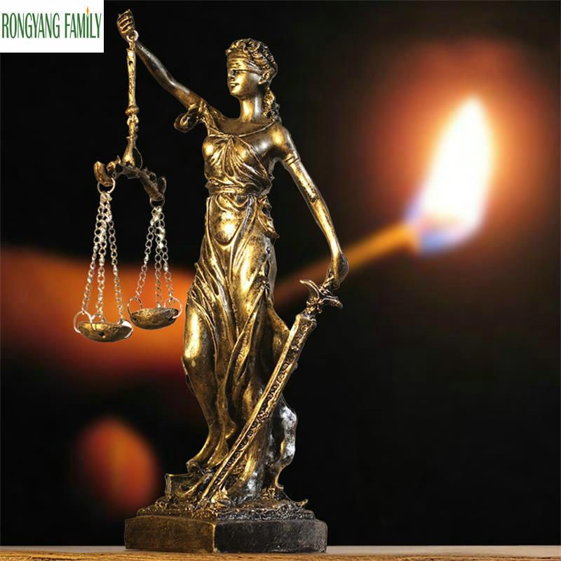 Ancient Greek Goddess Of Justice Sculpture European Retro Resin Ornaments Statue Crafts Home Office Desktop Decoration Figurine