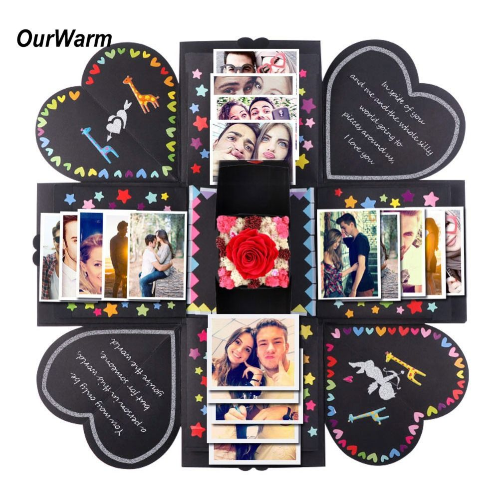 OurWarm BRICOLAGE Surprise Amour Explosion Boîte Cadeau Explosion pour Anniversaire Album DIY Photo Album Cadeau d'anniversaire 15x15x15 cm