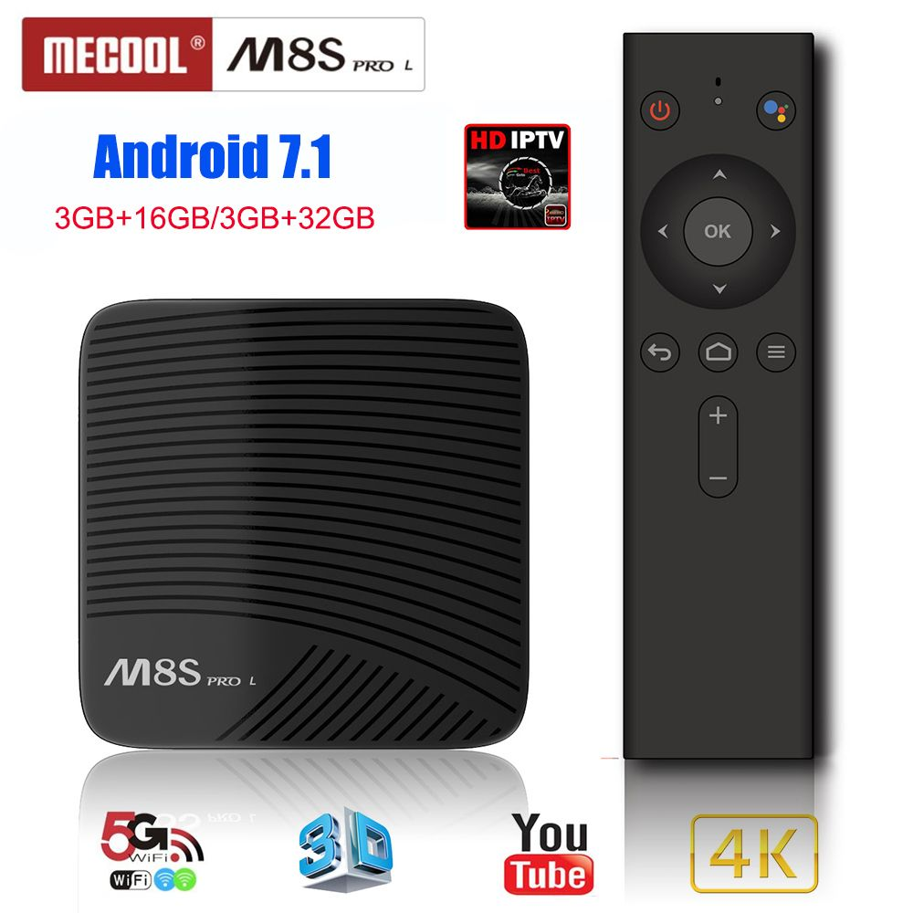 Mecool M8S PRO L Smart TV Box Android 7.1 Amlogic S912 3GB 32GB 5G Wifi BT4.1 Set-top Box with Voice Remote Control IPTV