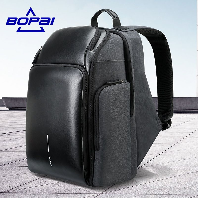 BOPAI Multi Layers Travel Backpack for Men Large Capacity Plecak USB Charging Notebook Backpack 15.6inch Male Functional Bagpack