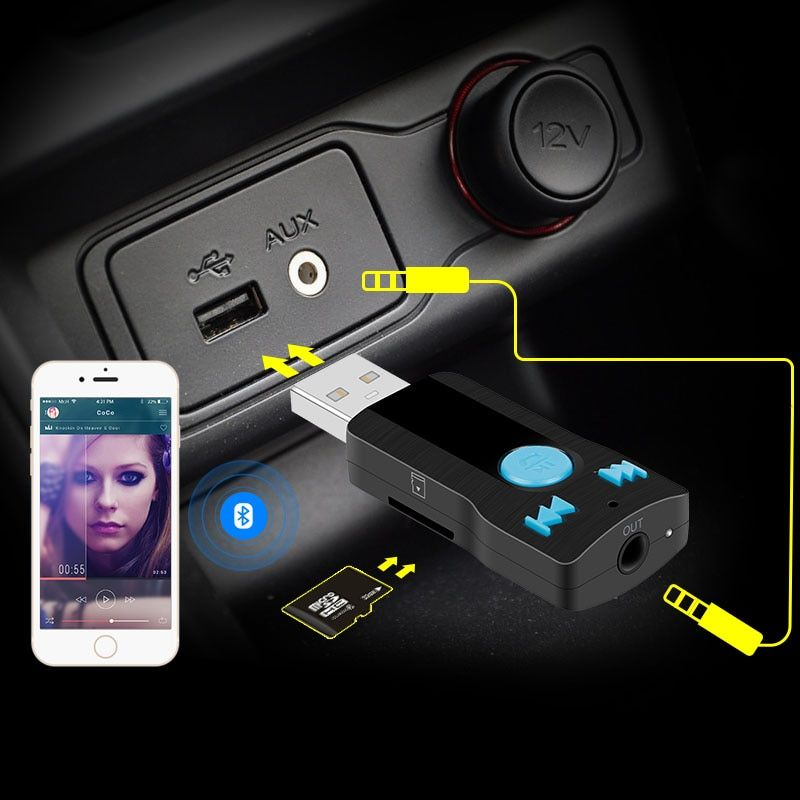 Car Wireless Bluetooth AUX Audio Receiver Adapter 3.5mm Jack Aux Bluetooth HandsFree Car Kit support TF card MP3 Music Receiver