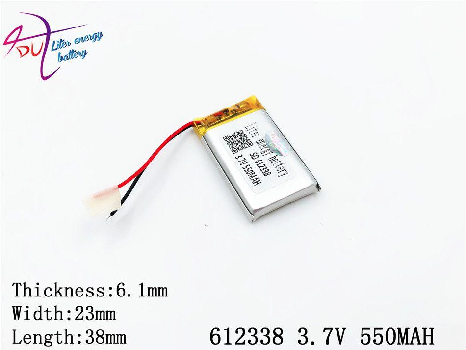 3.7 v Lithium polymère batterie 062338 612338 550 mah Mp3 Mp4 Gps Bluetooth 6.1*23*38mm Lithium batterie petit stéréo Bluetooth Gps