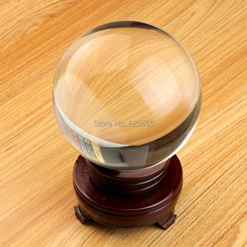 Free shipping ultra clear no air bubble 80mm crystal glass ball with stand ,magic props ball AAA quality
