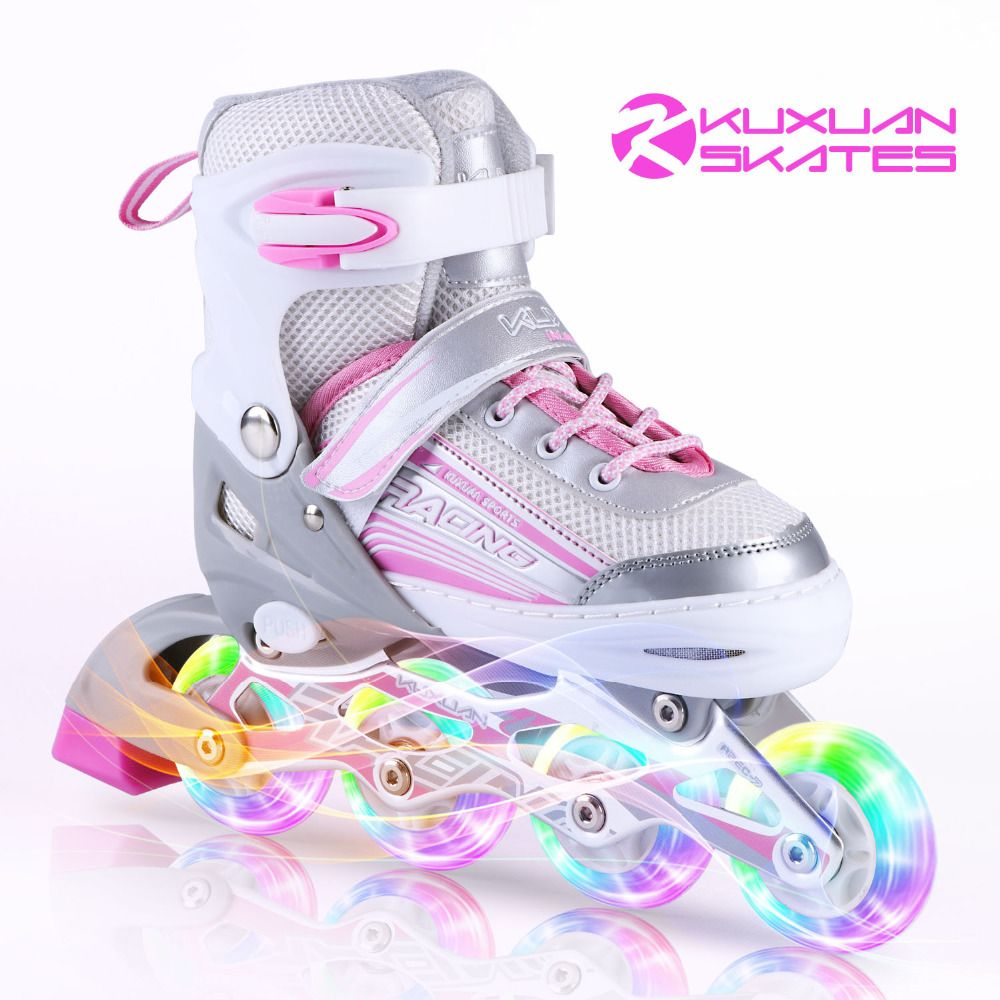 Kids Roller Skates Flash 4 Glow Wheel Inlin Speed Skates Adjustable Quad Wheels Roller Skeelers Kids Good Gifts For Girls Adult