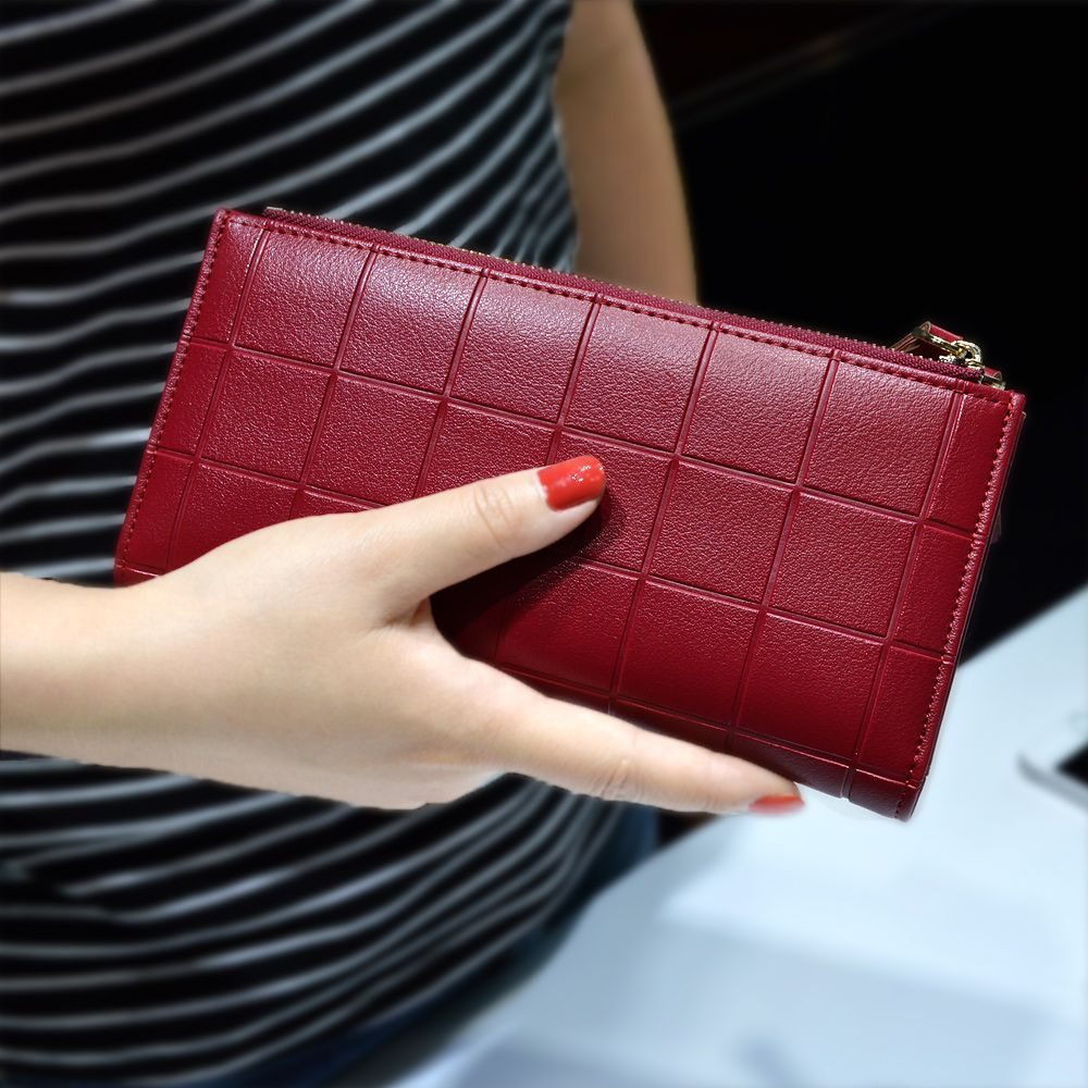 AOEO Womens Wallets and Purses Ladies Long 2 Zipper Coin Pocket 5.5 Phone Lady 10 Card Holder pu Leather Red Girls Wallet Female