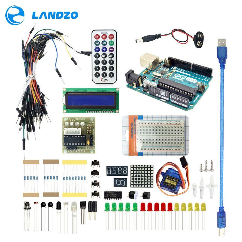 Arduino Starter Kit pour D'origine véritable arduino uno-Uno R3 Planche À Pain/arduino capteur/1602 LCD/jumper fil/UNO R3/Résistance