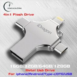 Ingelon 4in1 USB Flash Drive 16 GB 32 GB Flashdisk 128 GB OTG Idragon Logam USB Stick untuk iPhone Ios iPad Macbook Pena Drive 64 GB USB