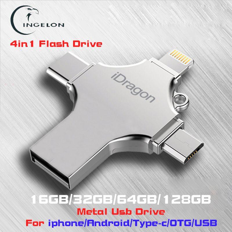 Ingelon 4in1 usb flash drive 16gb 32gb pendrive 128gb otg idragon metal usb stick for iphone ios ipad Macbook pen drive 64gb usb