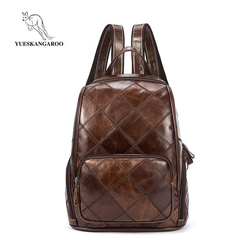 YUESKANGAROO Genuine Leather Women Backpack Mochila Escolar School Bags For Teenagers Girls Top-handle Backpacks Fashion 1037