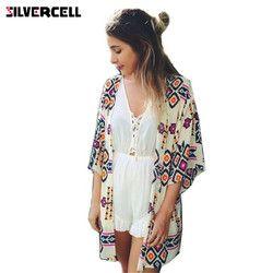 SILVERCELL summer boho cardigan Women shirt tops blouses casual camisas femininas blusas kimono cardigan Female plus size