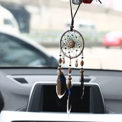 Car Pendant Handicraft Dreamcatcher Feather Hanging Car Rearview Mirror Ornament Auto Decoration Trim Accessories For Gifts 30CM
