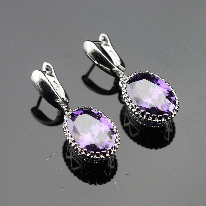 Made in China Ovale Pourpre Cubique Zircone Argent Couleur Boucles D'oreilles Bijoux Pour Les Femmes Cadeau Gratuit Boîte
