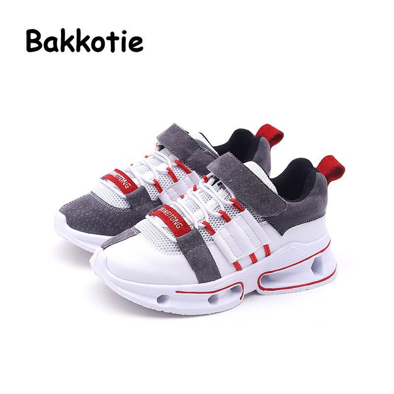 Bakkotie 2018 Frühling Baby Junge Mode Echtem Leder Schuhe Kind Casual Turnschuhe Kid Mesh Sport Schuhe Mädchen Schwarz Schuhe Trainer