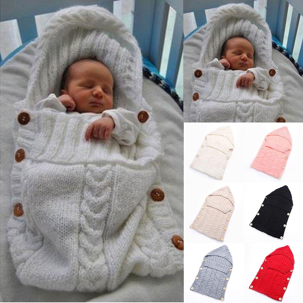 Envoltura Envolver bebé del Ganchillo De Lana de Punto Caliente Saco de Dormir Recién Nacido Manta Pañales Del Bebé Bolsas de Dormir del bebé manta recién nacido
