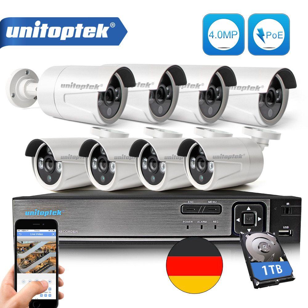 8CH POE NVR Kit 48V Power CCTV Camera System Onvif P2P 4MP HD H.265 IP Camera POE Outdoor Security Video Surveillance System