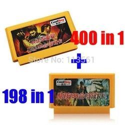 Hot Sale 2 piece Game Collection ( 400 in 1 Game Cartridge + 198 in 1 ) 60 Pins Game Card For 8 Bit Game Player