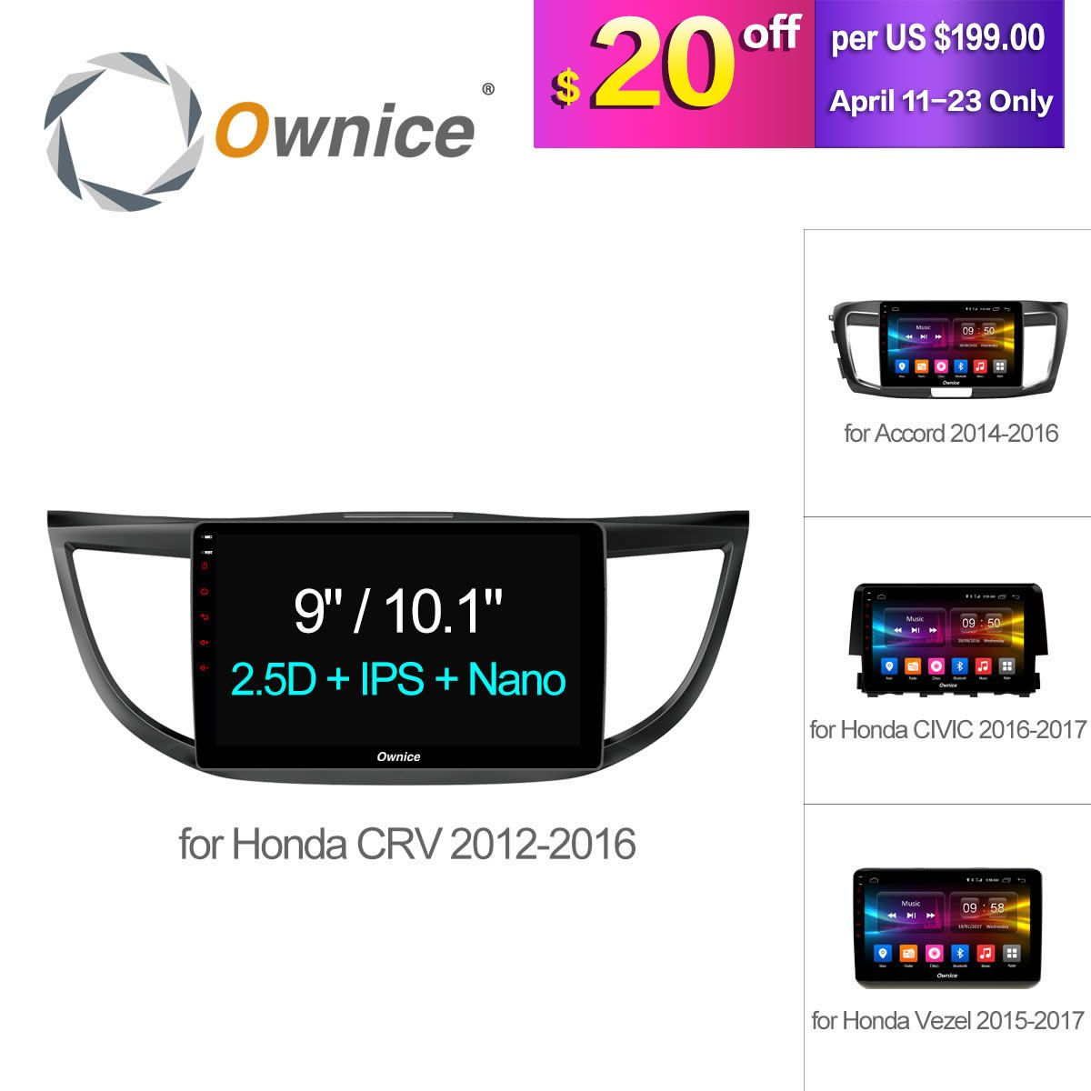 Ownice C500+ 10.1 HD Android 6.0 Octa 8 Core  Car radio player GPS Navi for HONDA 2012 - 2016 2017 Vezel CIVIC Accord CRV 32G