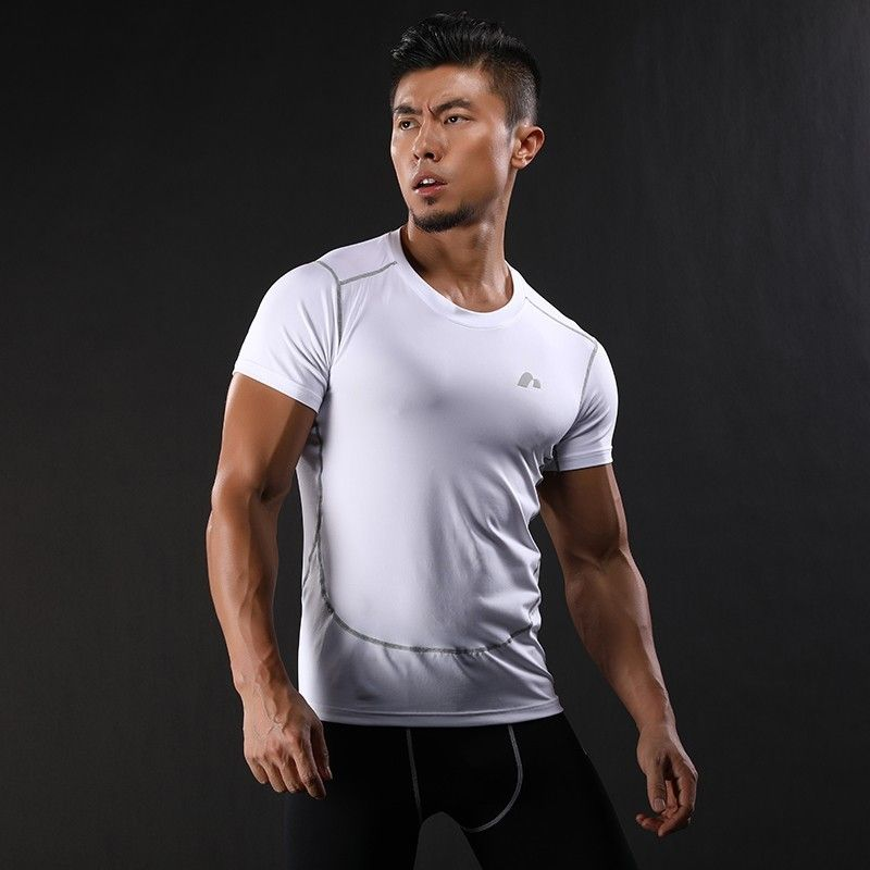 2018New Compression Shirt short Sleeves T-shirt GYMS Fitness Clothing Solid Color Quick Dry Bodybuild Crossfit Tops