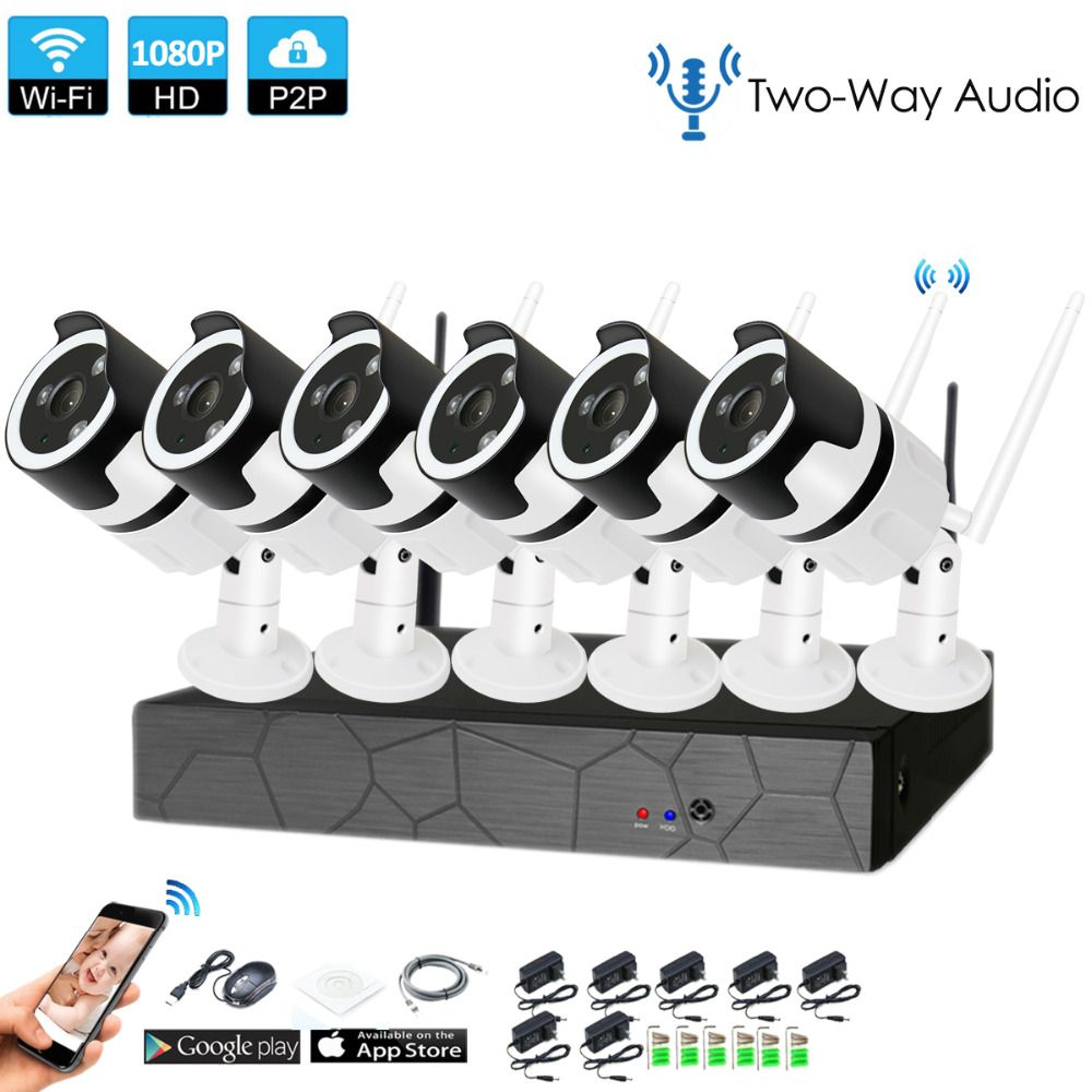 6CH two way audio talK HD Wireless NVR Kit P2P 1080P Indoor Outdoor IR Night Vision Security 2.0MP IP Camera WIFI CCTV System