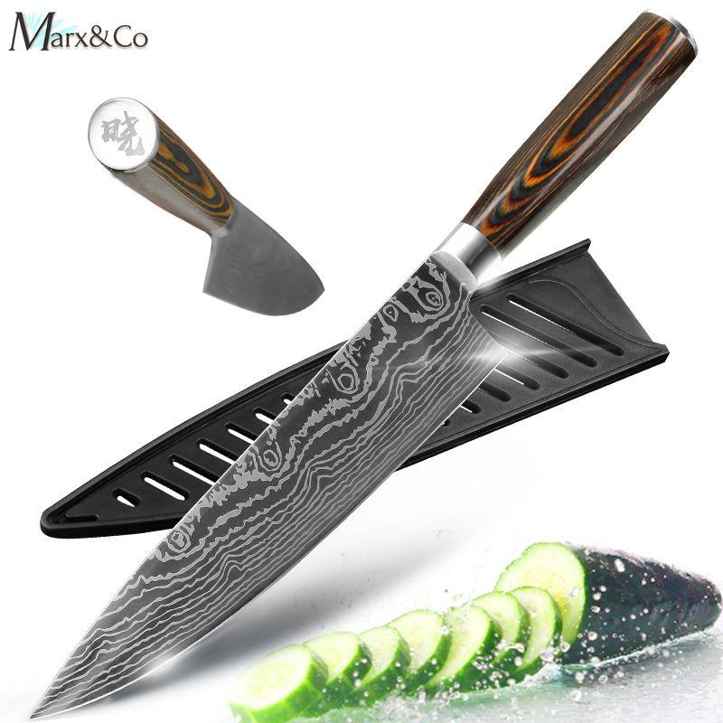 Couteau de cuisine couteaux de Chef 8 pouces japonais 7CR17 440C acier inoxydable à haute teneur en carbone ponçage Laser motif couteau Santoku végétal
