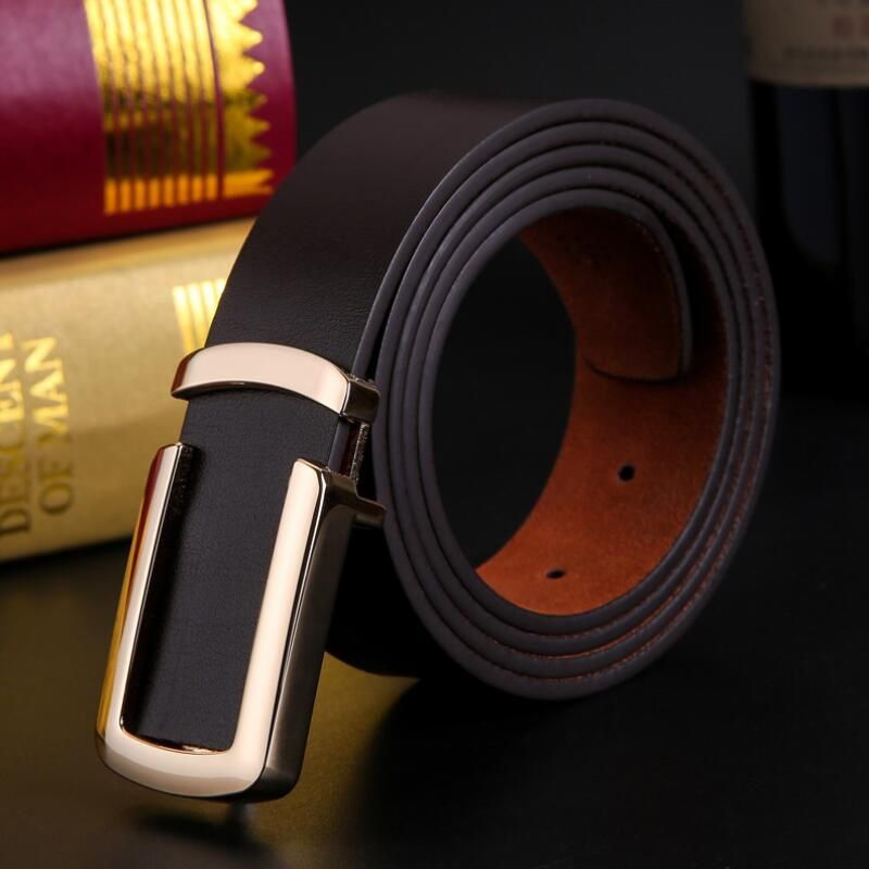 YM lovers 2017 new 100% high quality leather belt coffee men's plaid casual fashion belt luxury pure leather belt 105cm 1105CM
