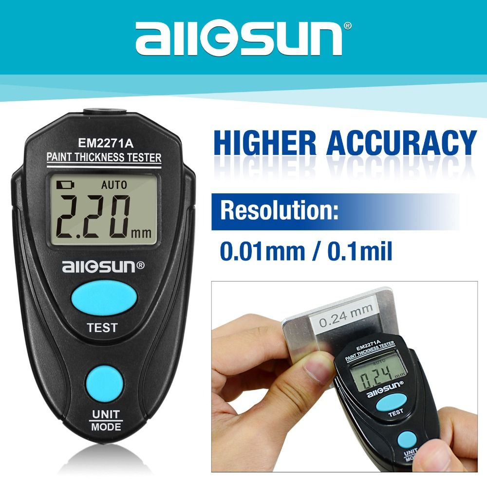 Digital Thickness Gauge Coating Meter  Fe/NFe 0.00-2.20mm for Car Thickness Meter  Russian Manual EM2271A all-sun