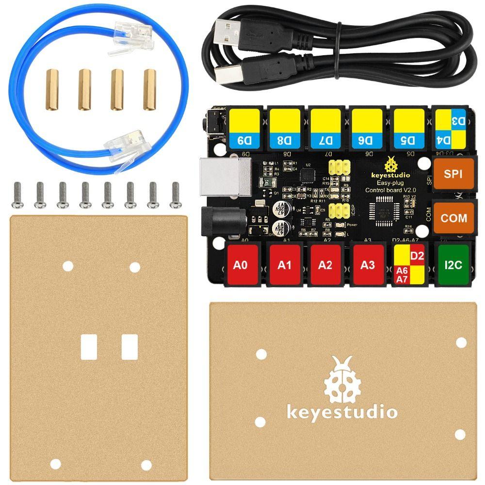 2018 Новинка! Keyestudio EASY Plug основная плата управления Upgrade Board V2.0 управление ler + USB кабель для Arduino пара